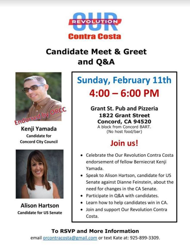 Our Revolution Contra Costa candidate meet and greet flyer